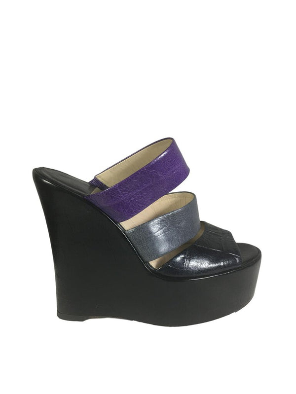 BALDAN Black Purple and Grey Wedge Crock Print Wedge Shoe Sandal