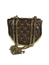 THOMAS WYLDE Brown Leather Gold Studded Crossbody Shoulder Bag