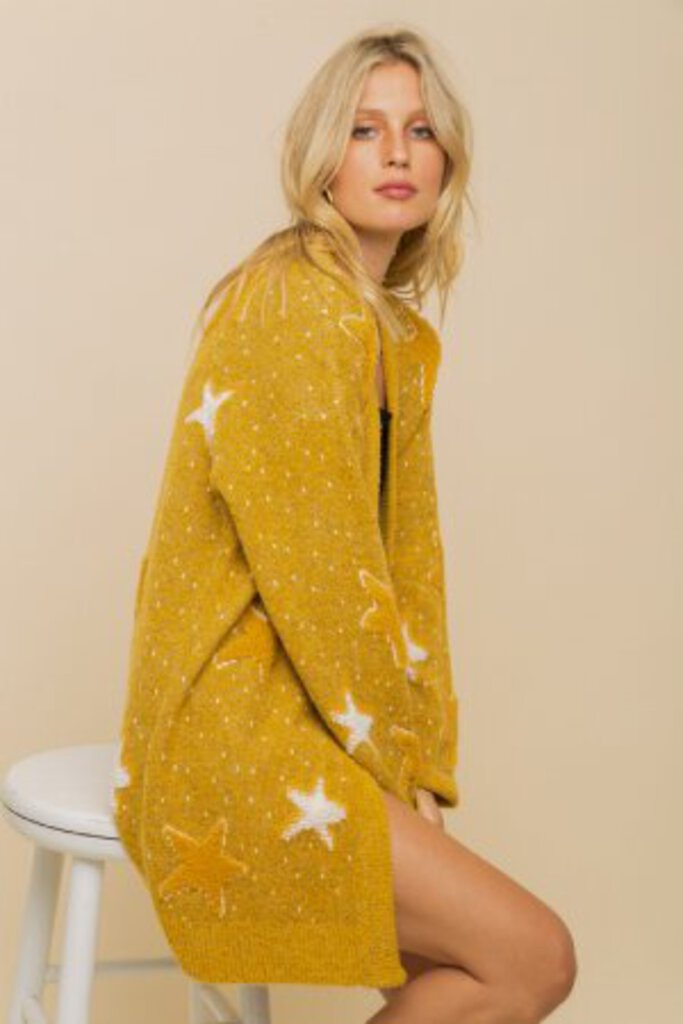 HEM & THREAD Soft Mustard Jacquard Fuzzy Star Sweater Cardigan