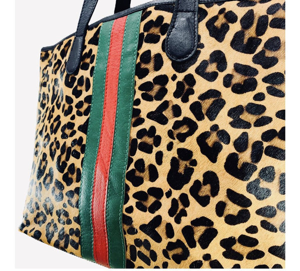 PARKER & HYDE Leopard Pony Hair Stripe Tote Made in the USA