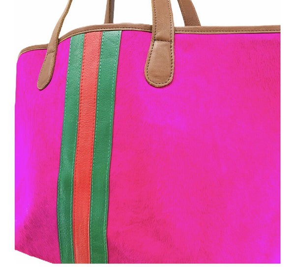 Parker & Hyde Pink Pony Hair Stripe Tote Made in the USA