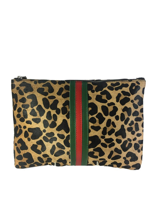 PARKER & HYDE Leopard Pony Hair Leather Stripe Clutch Bag