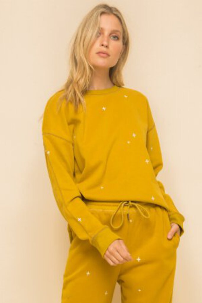 HEM & THREAD Mustard Embroidery Sweatshirt