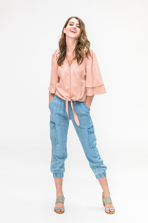 GIVEN KALE Four Pocket Blue Light Washed Tencel Jogger Pant