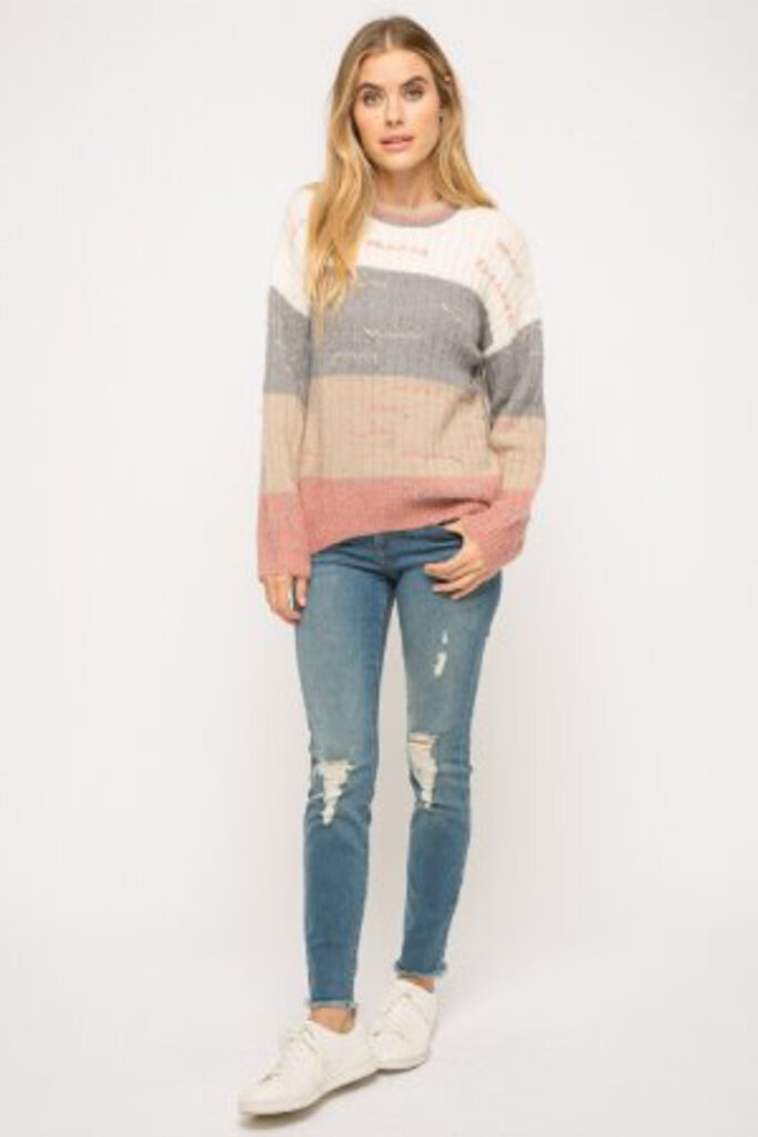 MYSTREE Color Block Sweater with Pulled Threading Detail