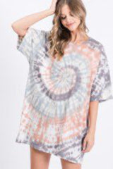 Tres Bien One Size Tie Dye Short Sleeve Lounge Wear Tunic Top Made in the USA