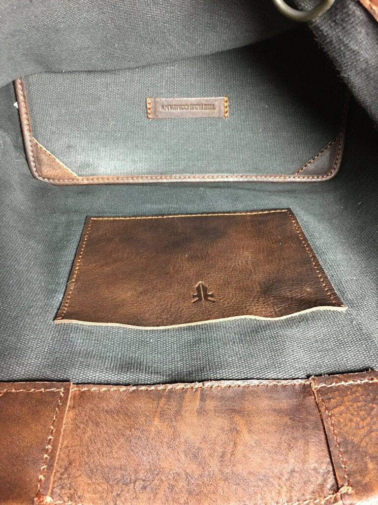 FRYE Brown Distressed Leather Shoulder Embossed Skull Tote Bag