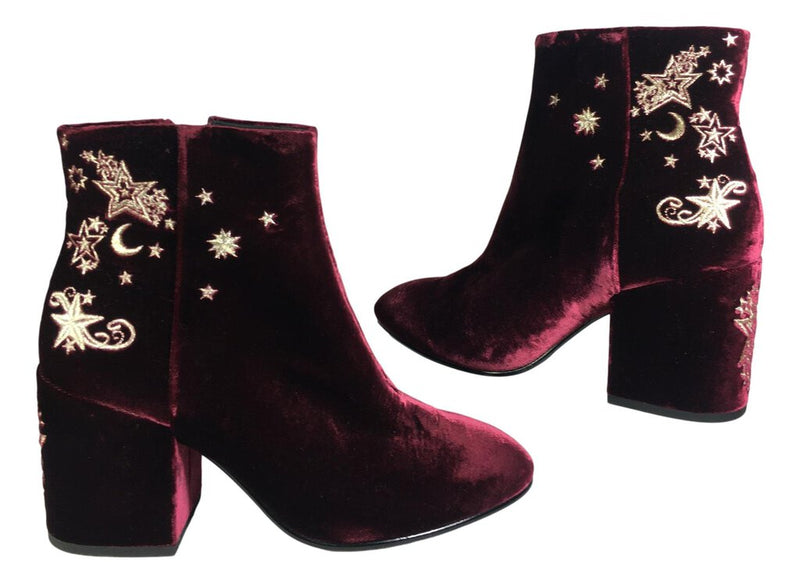 ASH Burgundy Velour Ankle Bootie Shoe with Gold Star and Moon Embroidery Size 37