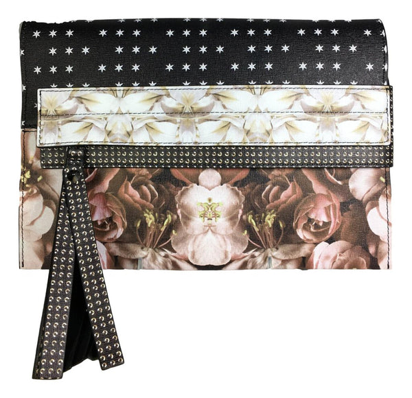 ELENA CHISELLINI Shoulder or Clutch Floral and Star Print Bag New