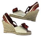 YVES SAINT LAURENT Cream Canvas and Burnt Orange Open Toe Ankle Warp Shoe Sandal Size 37