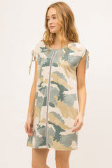 MYSTREE Sleeveless Pocket Camouflage and Stripe Casual Dress