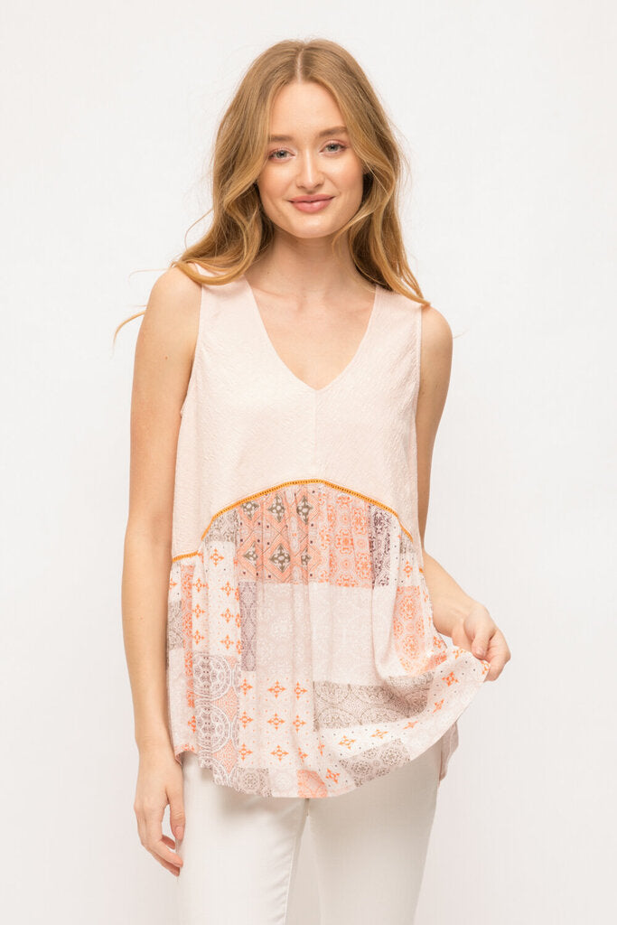 MYSTREE Sleeveless V-neck Blush and Printed Peplum Top
