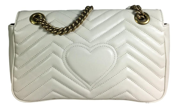 GUCCI White Mateless'e Leather GG Marmont Shoulder Crossbody Bag