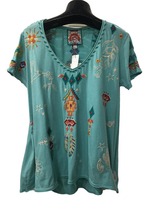 JOHNNY WAS Marine Blue V-Neck Saguaro Relaxed Embroidered Tee Top