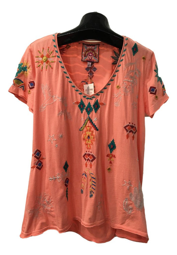 JOHNNY WAS Georgia Peach V-Neck Saguaro Relaxed Embroidered Tee Top