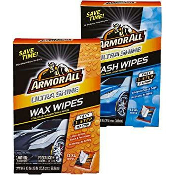 Armor All Ultra Shine Car Wash Wipes and Wax Wipes for Car - 24 wipes - Box of each style