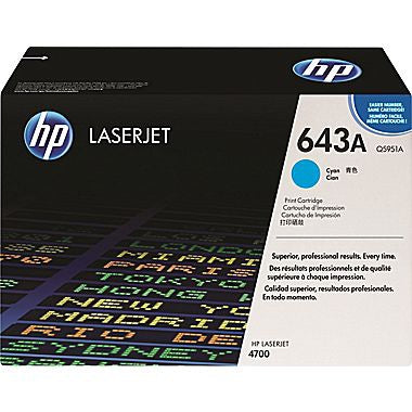 HP 643A (Q5951A) Cyan Original LaserJet Toner Cartridge (10000 Yield)