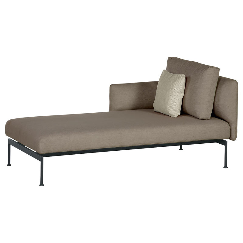 Barlow Tyrie Layout Deep Seating Single Chaise - Double seat et single back + single low arm - avec coussins