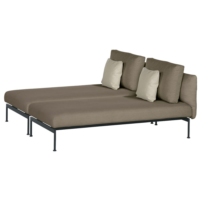 Barlow Tyrie Layout Deep Seating Double Chaise longue - Double seats with single backs - avec coussins