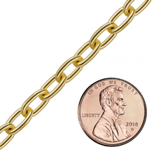 Load image into Gallery viewer, Bulk / Spooled Elongated Cable Chain in Yellow Gold (0.75 mm - 5.9 mm)