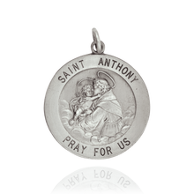 Load image into Gallery viewer, Round Saint Anthony Medallion in Sterling Silver