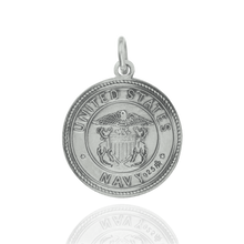 Load image into Gallery viewer, Round Saint Christopher Medallion in Sterling Silver for US Navy