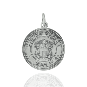 Round Saint Christopher Medallion in Sterling Silver for US Navy
