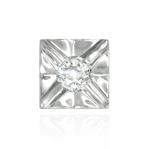 Square Plates for Round Stone with Flower Pattern (.05 ct - .10 ct)