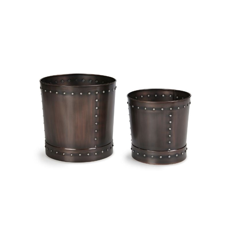 Set of Low Riveted Planters
