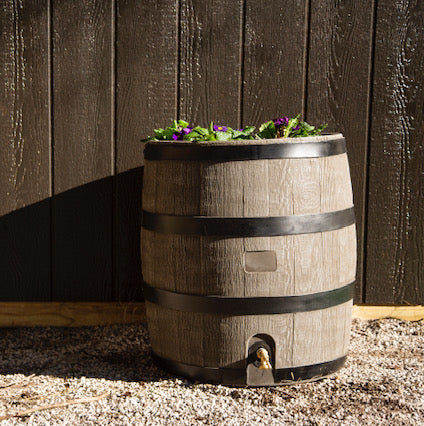 Rain Barrel - Round Woodgrain w/ Planter