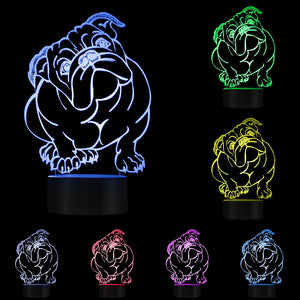 British Bulldog Multi-Coloured LED Table Lamp