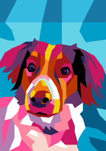Colorful Custom Digital Pet Portrait