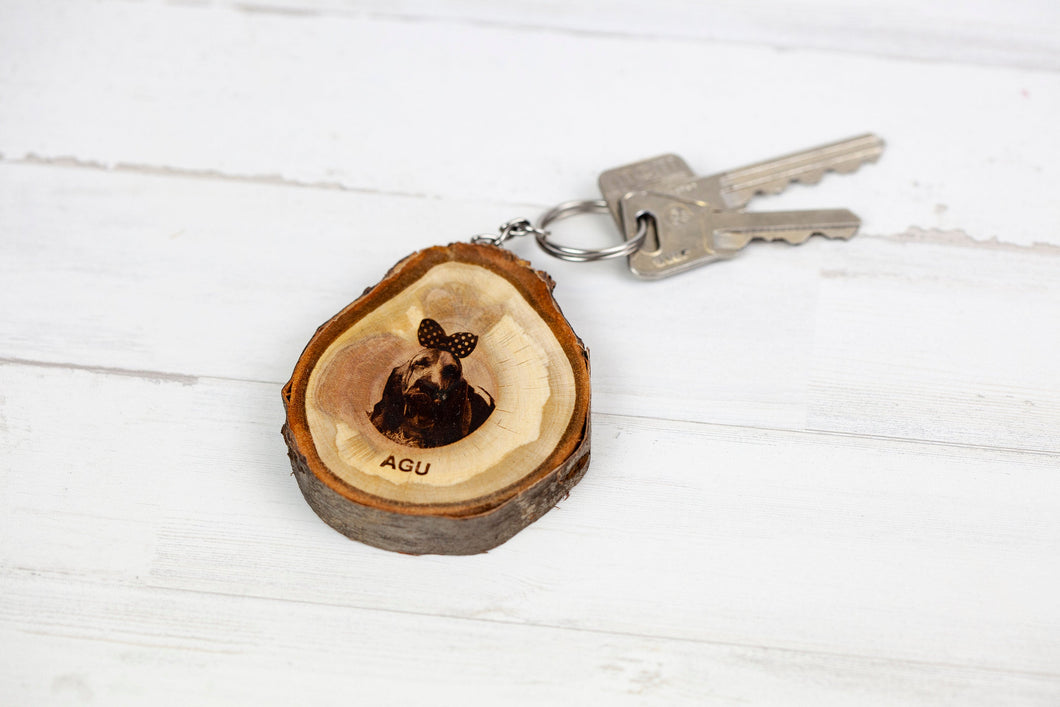 Hand Crafted Wood Engraved Pet Key Ring