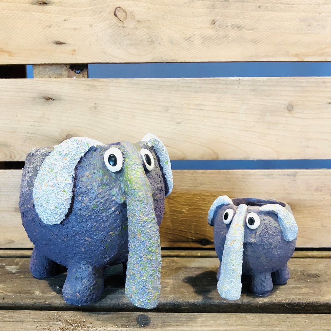 Bobo and Dinky Elephant Planters