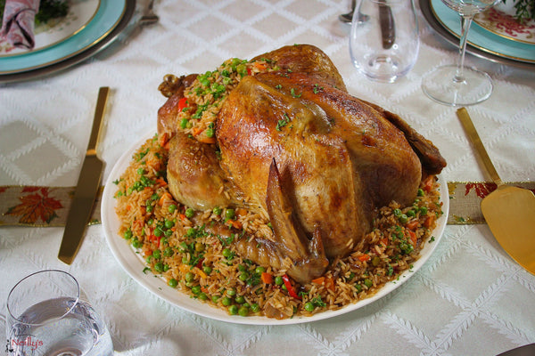Roasted Turkey with Jambalaya Rice Stuffing