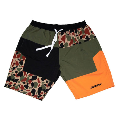 OUTRANK-Orange Money Bag Camo Nylon Shorts