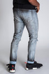 KDNK-OPEN KNEE ANKLE INNER TAPE JEANS (BLUE SMOKE)