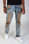 KDNK-SKINNY FIT ANKLE ZIP JEANS (RUST BLUE)