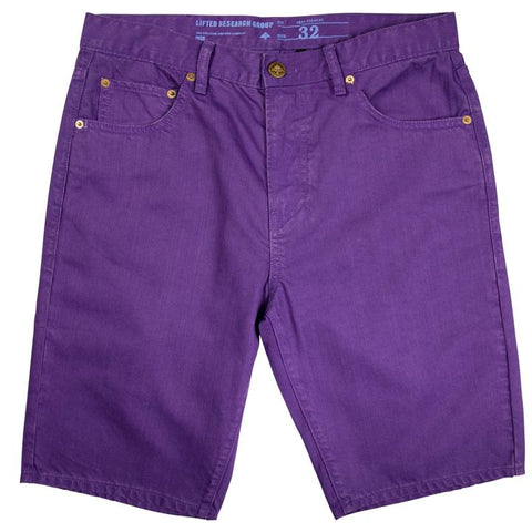 BEDLAND OVERDYE DENIM SHORTS ROYAL PURPLE