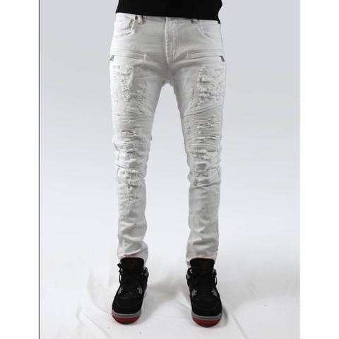 PREME- SHREDDED SPOT DENIM JEANS (white)