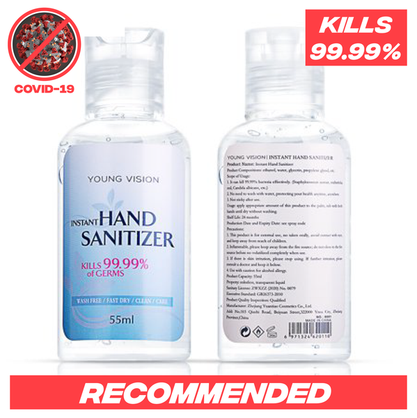 55ml Ethanol Instant Hand Disinfectant / Kills 99.9% of Germs