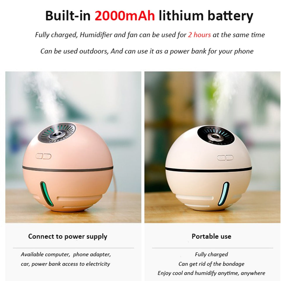 4 in 1 Air Humidifier Rechargeable 2000mA built in - The Herb Garden.