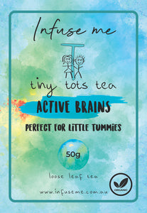 Tiny Tots Tea presents our Active Brains Tea, enjoy this organic well-balanced and full-flavoured brew any time. Light and easy to drink, a perfect blend of delicious herbs and sweet aroma. This blend is a combination of a number of beneficial herbs
