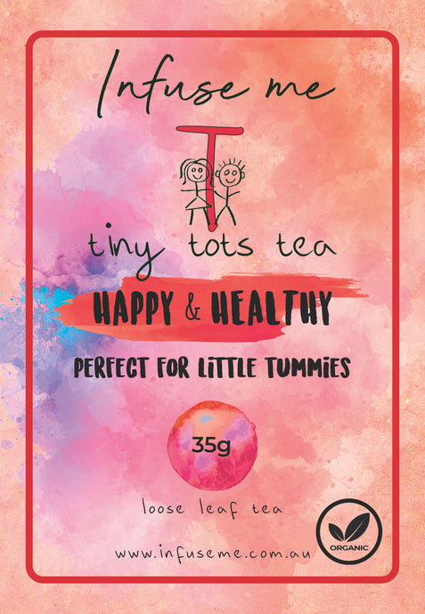 Happy and Healthy Tea Blend A little something yummy for your tummy! Tiny Tots Tea presents our Happy and Healthy tea, this organic blend is high in antioxidants and other beneficial plant compounds. It has a soothing, cooling, mellow mint flavour and is one of our yummiest blends.
