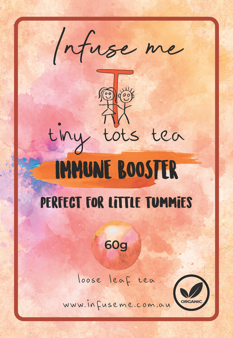 Immune Booster Tea Blend  Tiny Tots Tea presents our Immune Booster tea, with 5 organic ingredients high in polyphenols to nurture and boost your Tiny's immune system and help guard their body against nasty bacteria and viruses.