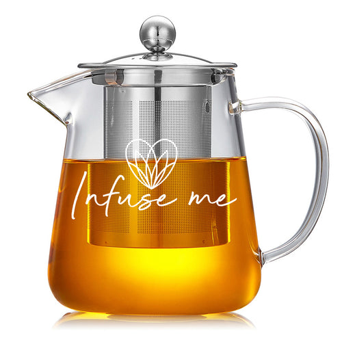 Best quality tea infuser. Infuse Me presents our Glass Loose Leaf Teapot     This tea pitcher is perfect for making hot or iced tea for the day, add your Tiny Tots Tea blend, pour water and let steep for as long as you like.   Heat-resistant Glass Removable Tea Strainer 450ml Hot or cold