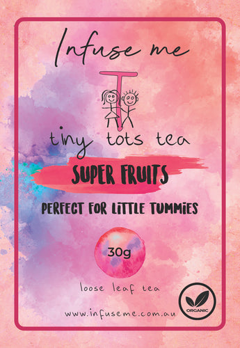 Super Fruits Tea Blend  Tiny Tots Superfruits Tea is jam-packed full of superfruits that are not only extremely good for you but super tasty too.   This organic blend contains one of nature's finest; Acai berries. Acai berries get their vibrant red colour from anthocyanins, which are a powerful antioxidant. Anthocyanins may contain many health benefits including enhancing memory.
