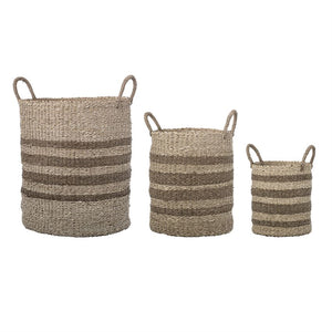 Natural Seagrass and Palm Striped Basket