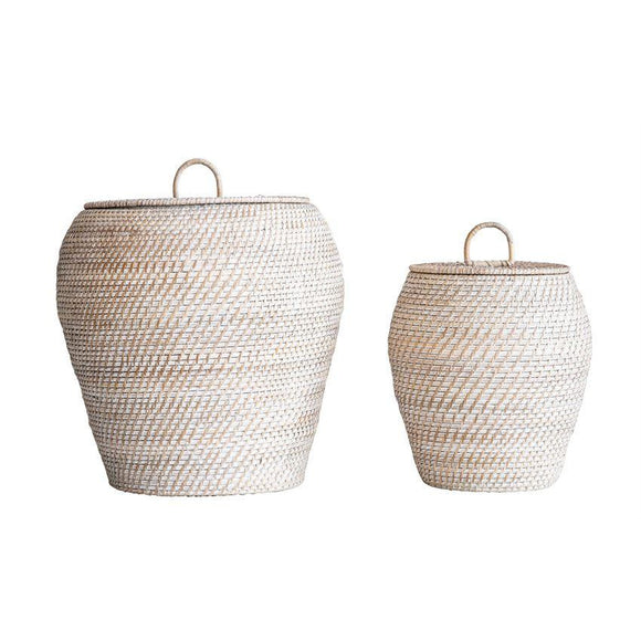 White-Washed Rattan Basket with Lid