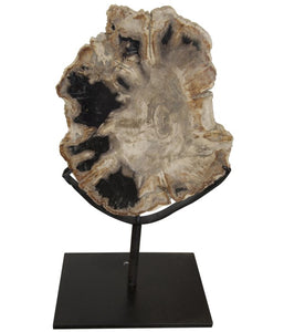 Petrified Wood Sculpture on Metal Stand
